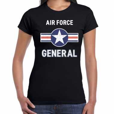 Luchtmacht / air force verkleed t shirt zwart voor dames