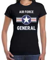 Luchtmacht air force verkleed t-shirt zwart voor dames